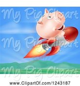 Swine Clipart of Cartoon Piggy Bank Riding a Rocket over a Valley by AtStockIllustration