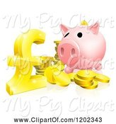 Swine Clipart of Cartoon Piggy Bank with Gold Coins and a Pound Sterling Symbol by AtStockIllustration