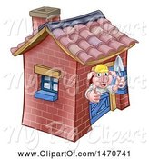 Swine Clipart of Cartoon Piggy from the Three Little Pigs Fairy Tale, Giving a Thumb up in His Brick House by AtStockIllustration