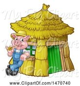 Swine Clipart of Cartoon Piggy from the Three Little Pigs Fairy Tale, Leaning Against His Straw House by AtStockIllustration