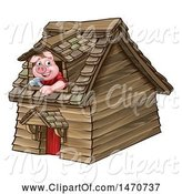 Swine Clipart of Cartoon Piggy from the Three Little Pigs Fairy Tale, Looking out the Window in His Wood House by AtStockIllustration