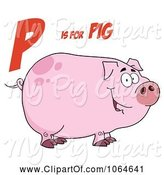 Swine Clipart of Cartoon Piggy Under P Is for Pig by Hit Toon