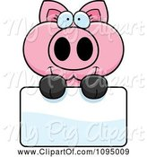Swine Clipart of Cartoon Piglet Holding a Sign by Cory Thoman
