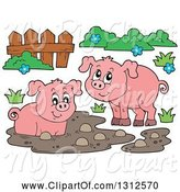 Swine Clipart of Cartoon Pigs, Fence, Mud and Grass by Visekart