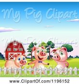 Swine Clipart of Cartoon Pigs in a Pasture near a Barn by Graphics RF