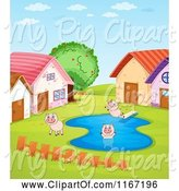 Swine Clipart of Cartoon Pigs Playing in a Puddle by Graphics RF