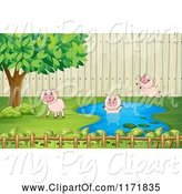 Swine Clipart of Cartoon Pigs Playing in a Yard Pond by Graphics RF