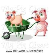 Swine Clipart of Cartoon Pigs Using a Wheelbarrow by Graphics RF