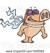 Swine Clipart of Cartoon Pilot Pig Posing by Toonaday