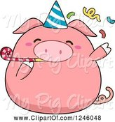 Swine Clipart of Cartoon Pink Birthday Pig Blowing a Noise Maker by BNP Design Studio