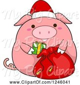 Swine Clipart of Cartoon Pink Christmas Pig Stuffing a Santa Sack by BNP Design Studio