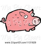 Swine Clipart of Cartoon Pink Farm Pig 1 by Lineartestpilot