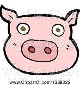 Swine Clipart of Cartoon Pink Pig by Lineartestpilot