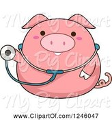 Swine Clipart of Cartoon Pink Pig Doctor Holding out a Stethoscope by BNP Design Studio