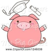 Swine Clipart of Cartoon Pink Pig Graduate Throwing His Hat and Diploma by BNP Design Studio