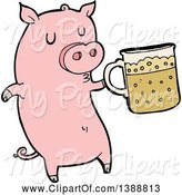 Swine Clipart of Cartoon Pink Pig Holding a Beer by Lineartestpilot