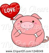 Swine Clipart of Cartoon Pink Pig Holding a Love Heart Balloon by BNP Design Studio