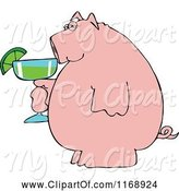 Swine Clipart of Cartoon Pink Pig Holding a Margarita by Djart