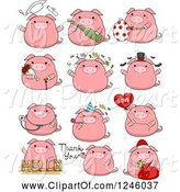 Swine Clipart of Cartoon Pink Pig in Different Poses by BNP Design Studio