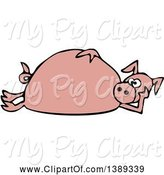 Swine Clipart of Cartoon Pink Pig Laying on His Side by Djart