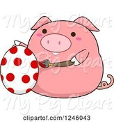 Swine Clipart of Cartoon Pink Pig Painting an Easter Egg with Polka Dots by BNP Design Studio