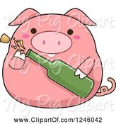 Swine Clipart of Cartoon Pink Pig Popping a Bottle of Champagne by BNP Design Studio