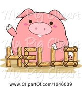 Swine Clipart of Cartoon Pink Pig Waving Behind a Hello Fence by BNP Design Studio
