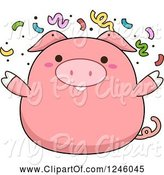 Swine Clipart of Cartoon Pink Pig with Party Confetti by BNP Design Studio