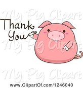 Swine Clipart of Cartoon Pink Pig Writing Thank You by BNP Design Studio
