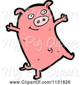 Swine Clipart of Cartoon Pink Piggy 1 by Lineartestpilot