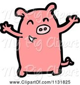 Swine Clipart of Cartoon Pink Piggy 2 by Lineartestpilot