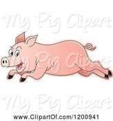 Swine Clipart of Cartoon Pink Running Pig by Lal Perera