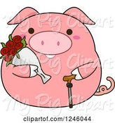 Swine Clipart of Cartoon Pink Senior Pig with Flowers and a Cane by BNP Design Studio