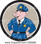 Swine Clipart of Cartoon Police Officer Pig with His Hands on His Hips in a Black Taupe and White Circle by Patrimonio