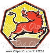 Swine Clipart of Cartoon Razorback Boar Leaping and Looking Back in a Sunset Heptagon by Patrimonio