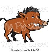 Swine Clipart of Cartoon Razorback Boar Pig by Patrimonio