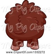 Swine Clipart of Cartoon Rear View of a Boar by BNP Design Studio