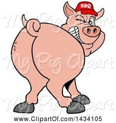 Swine Clipart of Cartoon Rear View of a Grinning and Winking Pig Looking Back and Wearing a Bbq Hat by LaffToon