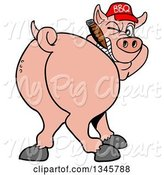 Swine Clipart of Cartoon Rear View of a Grinning Pig Looking Back, Smoking a Cigar, and Wearing a Bbq Hat by LaffToon