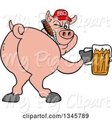 Swine Clipart of Cartoon Rear View of a Grinning Pig Looking Back, Smoking a Cigar, Wearing a Bbq Hat, Holding a Beer by LaffToon
