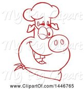 Swine Clipart of Cartoon Red and White Lineart Winking Chef Pig Wearing a Bandana and Toque Hat by Hit Toon