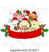 Swine Clipart of Cartoon Red Christmas Banner with Holly and Festive Animals by BNP Design Studio