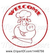 Swine Clipart of Cartoon Red Lineart Winking Chef Pig Wearing a Bandana and Toque Hat in a Circle with Welcome Text by Hit Toon