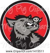 Swine Clipart of Cartoon Retro Angry Gray Boar in a Black White and Red Circle by Patrimonio