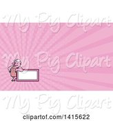 Swine Clipart of Cartoon Retro Butcher Pig Leaning on a Blank Sign and Pink Rays Background or Business Card Design by Patrimonio