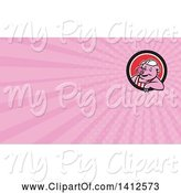 Swine Clipart of Cartoon Retro Butcher Pig Leaning out of a Black White and Red Circle and Pink Rays Background or Business Card Design by Patrimonio