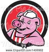 Swine Clipart of Cartoon Retro Butcher Pig Leaning out of a Black White and Red Circle by Patrimonio