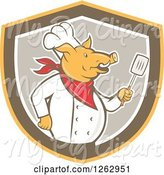 Swine Clipart of Cartoon Retro Chef Pig Holding a Spatula in a Yellow Brown and Taupe Shield by Patrimonio