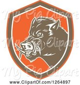 Swine Clipart of Cartoon Retro Wild Boar Pig in an Orange Brown and White Shield by Patrimonio