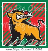 Swine Clipart of Cartoon Retro Wild Boar Pig with a Bone in Its Mouth, Inside a Tartan Square by Patrimonio